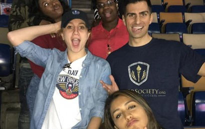 Just playing around after the #pelicans game! Great time out with Loyola New Orleans HonorSociety.org members